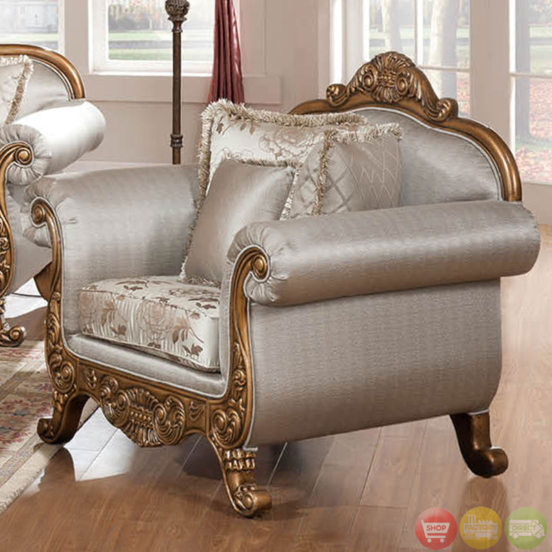 Traditional metallic finish formal sofa set with carved for Formal sofa sets