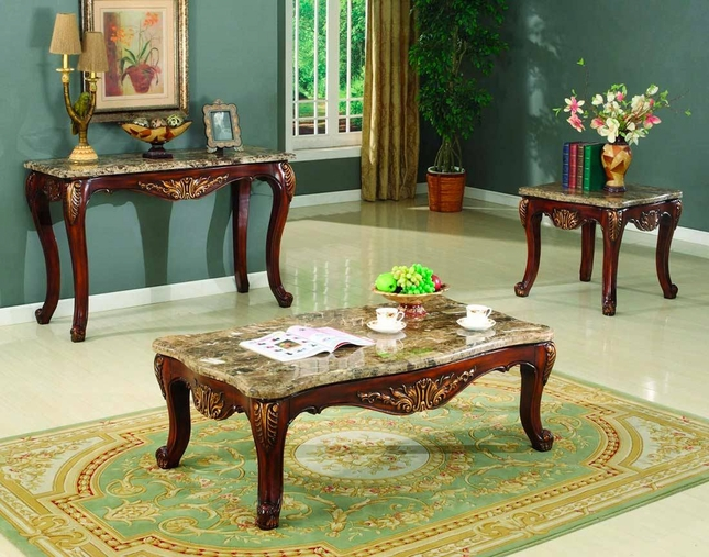 Traditional Occasional Cocktail Coffee Table End Set Marble Top Carved Wood