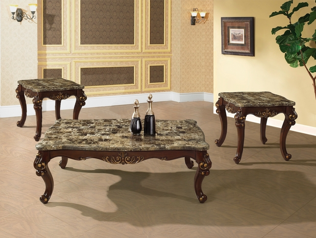 Traditional Occasional Cocktail Coffee Table End Table Set Marble