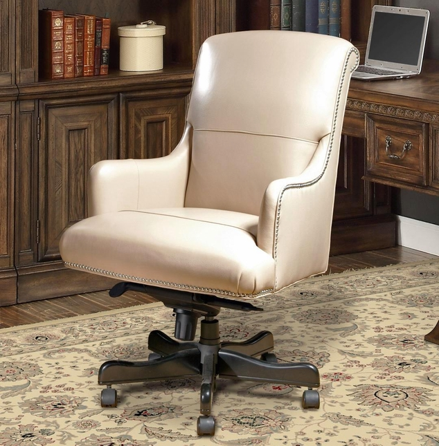 traditional office furniture desk chair beige leather nailhead