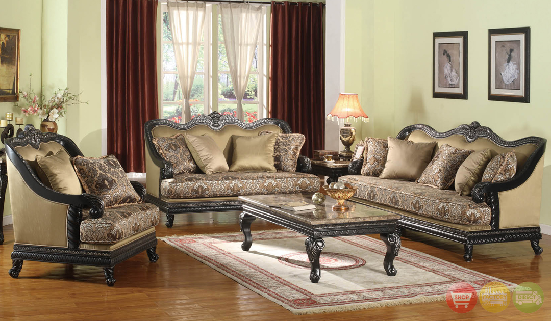 Traditional painted black formal sofa set with carved for Formal sofa sets