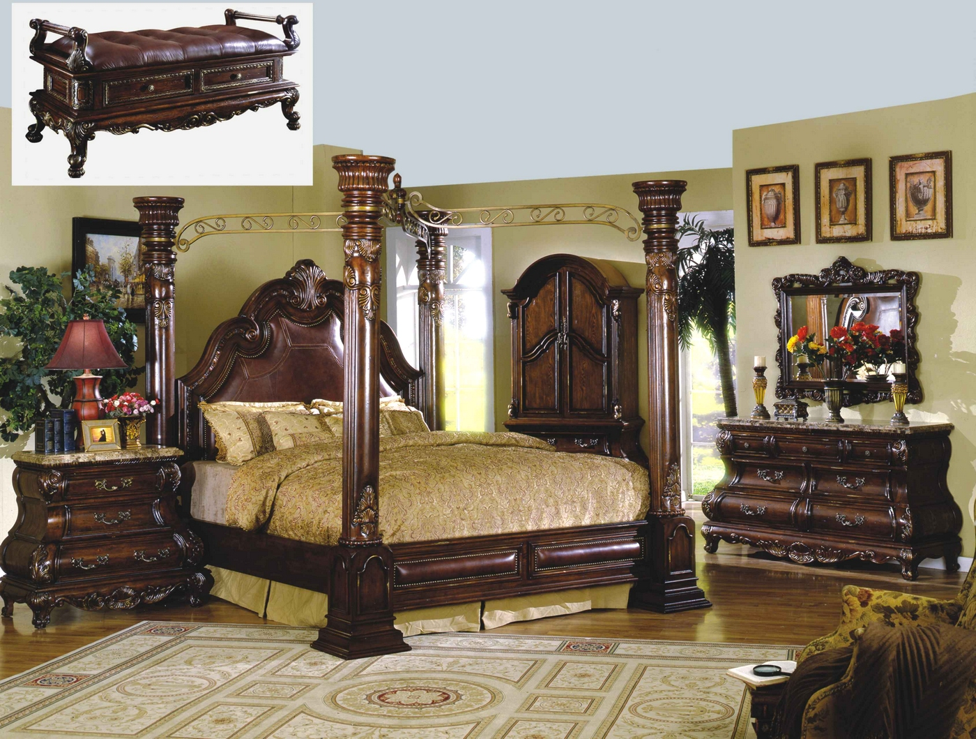 Traditional canopy bed marble bedroom set shop factory for Canopy bedroom furniture