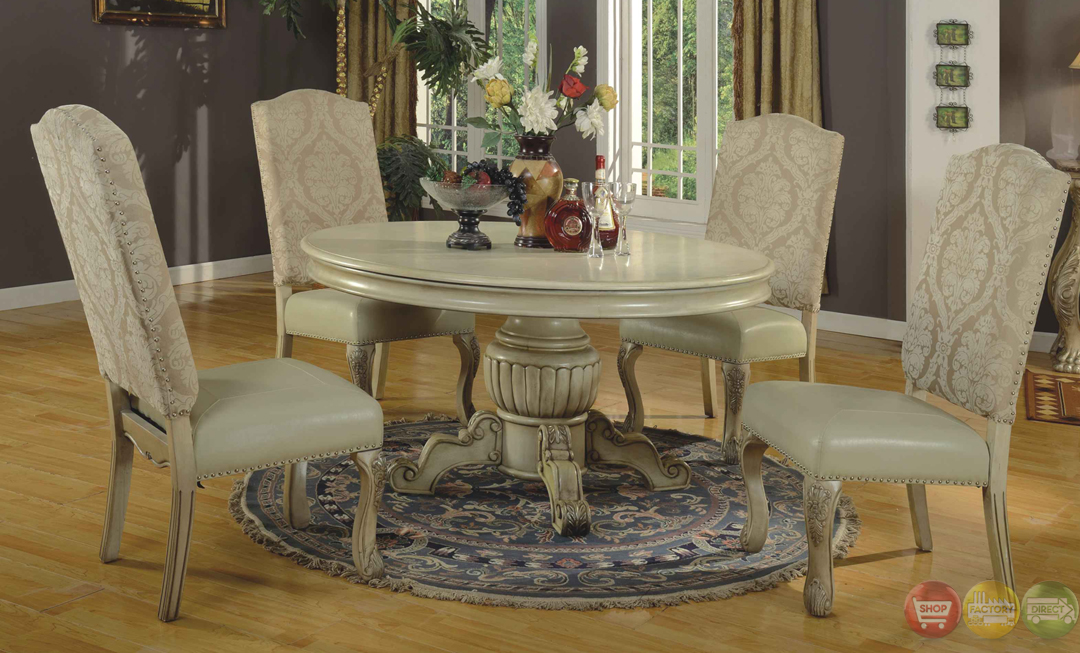 Traditional round antique stye white formal dining set - Formal round dining room sets ...