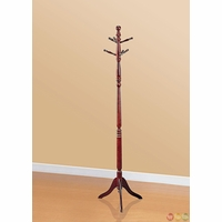 Traditional Seven Hook Cherry Coat Rack with Pedestal Base