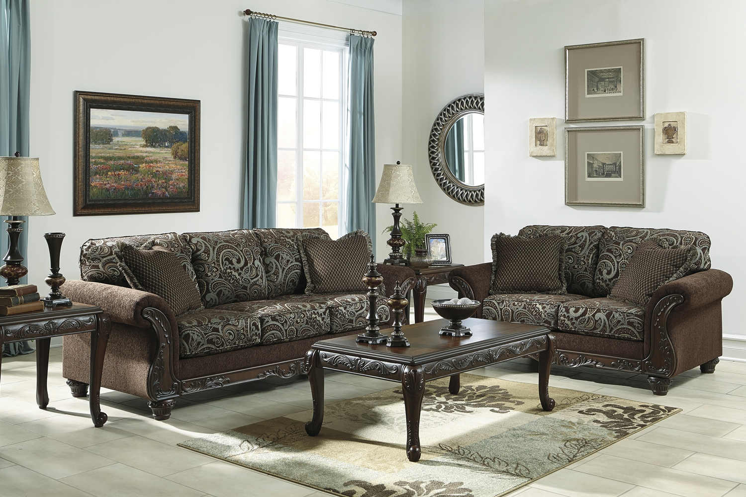 Traditional style brown sofa love seat living room for Traditional living room furniture
