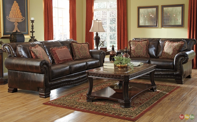 Traditional Style Living Room Furniture Brown Durablend W