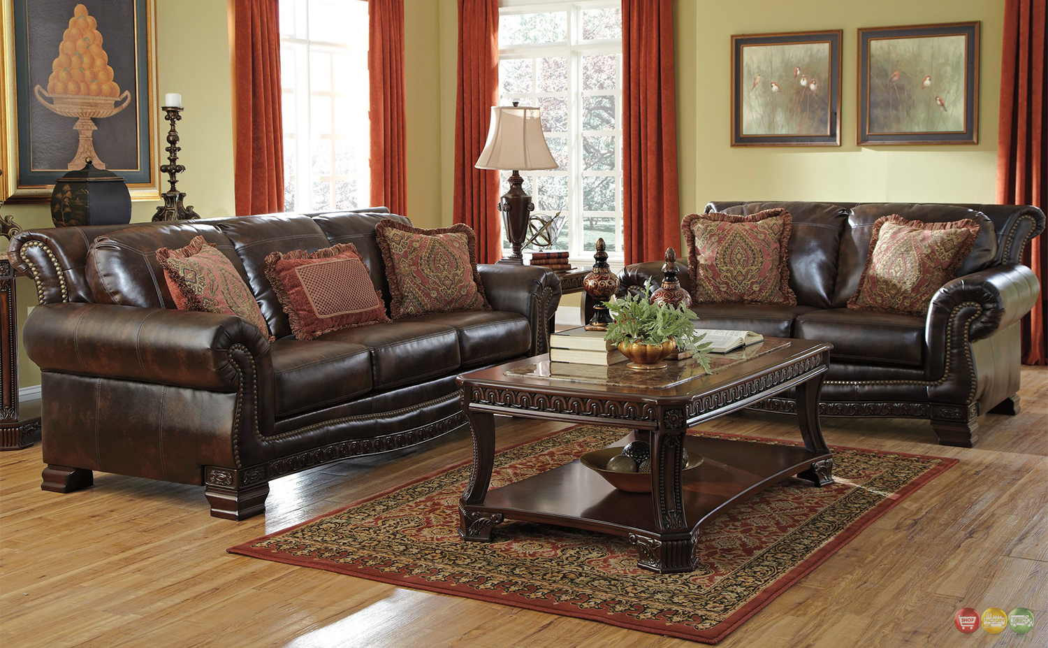 Traditional style living room furniture brown durablend w nailhead accents for Ashley leather living room furniture