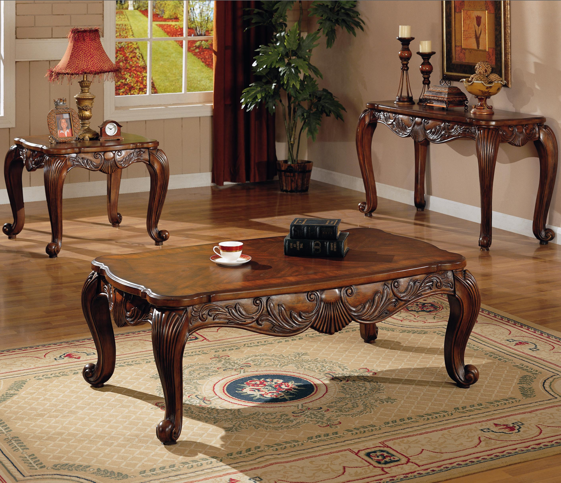 Traditional occasional coffee cocktail end table set coaster for Living room table sets