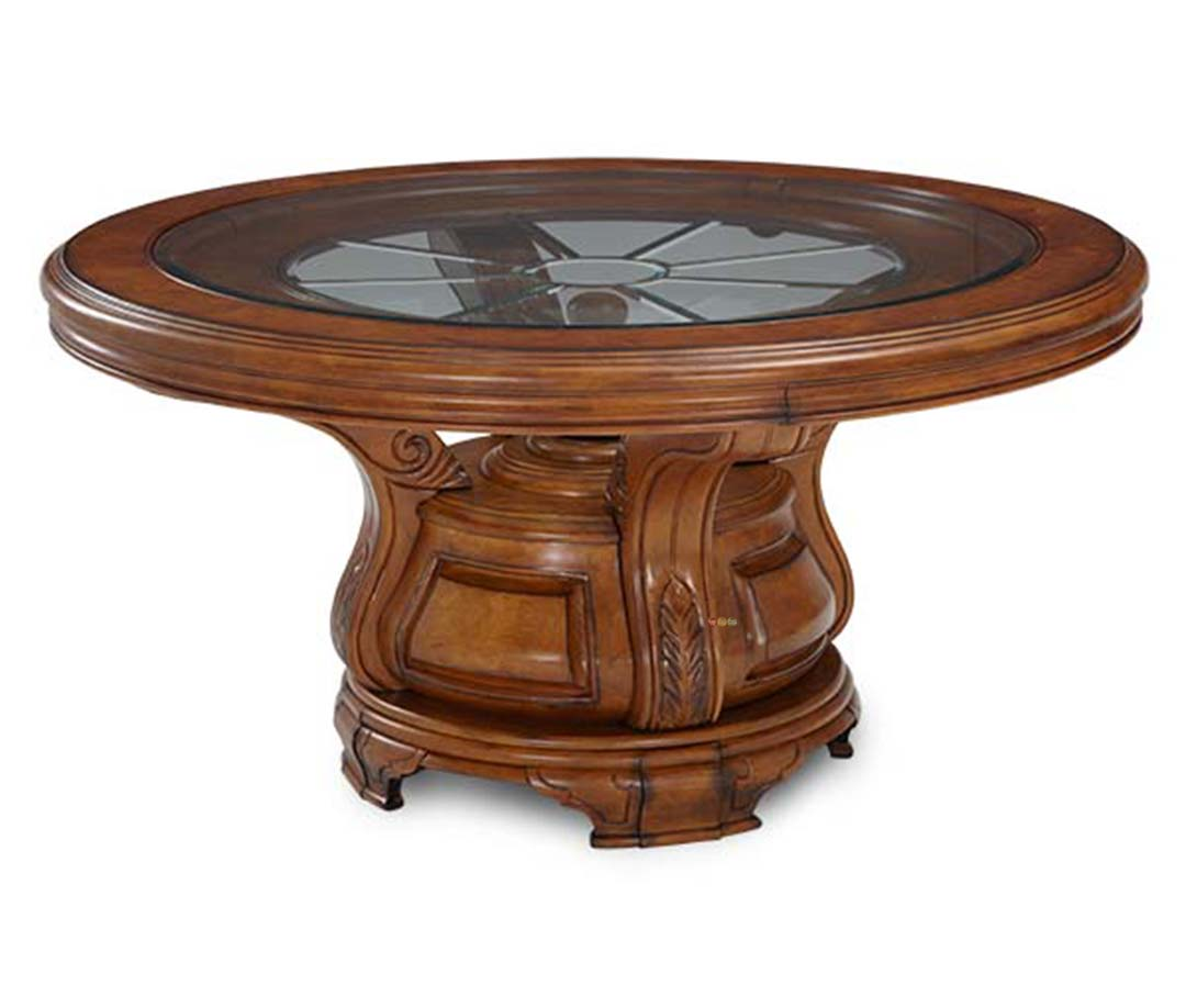 Michael amini tuscano biscotti traditional round dining for Traditional dining table