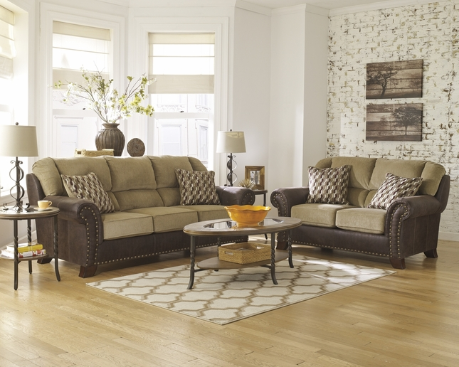 Traditional Two Tone Beige & Brown Sofa Set w/ Rolled Arms & Nailhead Trim