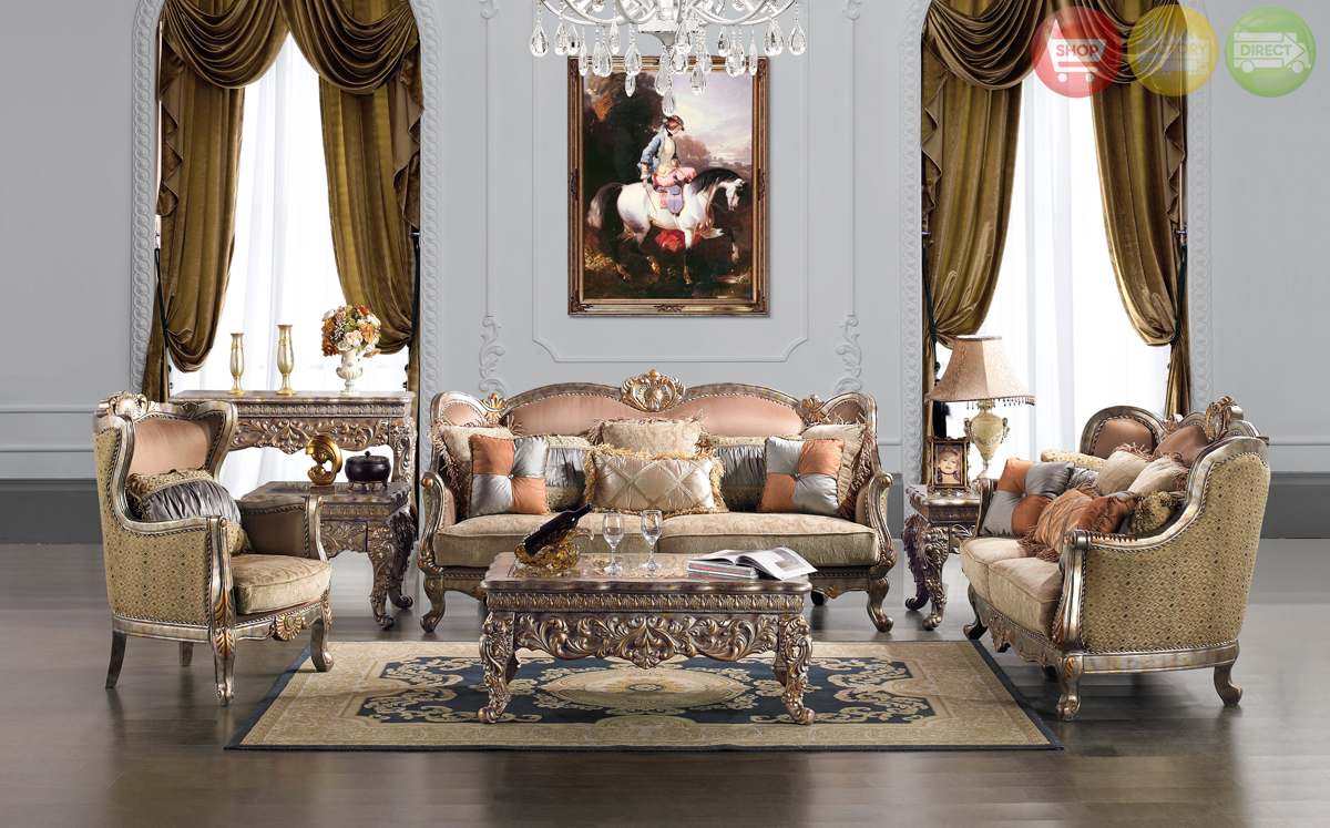Traditional upholstery french european design formal - European style living room furniture ...
