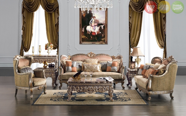 Traditional Upholstery French European Design Formal Living Room Furniture  HD 1628