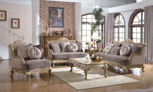 Traditional Victorian Formal Living Room Sofa Love Seat Set ...