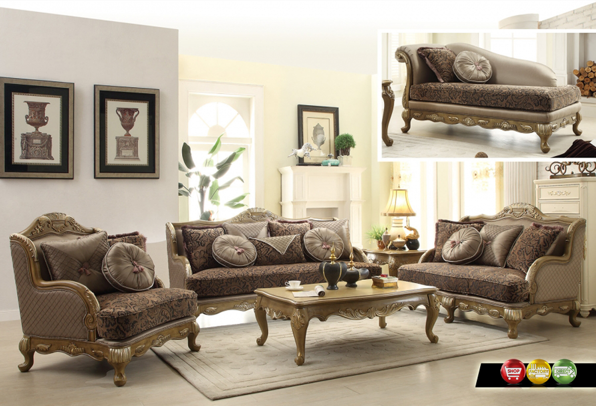 Traditional victorian formal living room sofa love seat for Traditional living room sets
