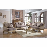Traditional Victorian Formal Living Room Sofa Set Exposed Wood Accent Pillow Back