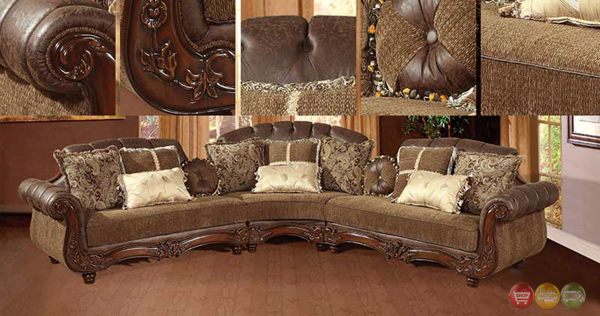 Traditional victorian styled sectional sofa exposed wood for Traditional leather sectional sofa