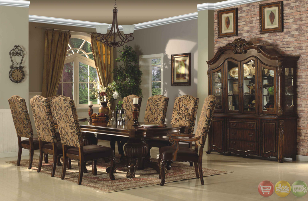 Traditional walnut formal dining set with bonded leather chairs - Traditional dining room set ...