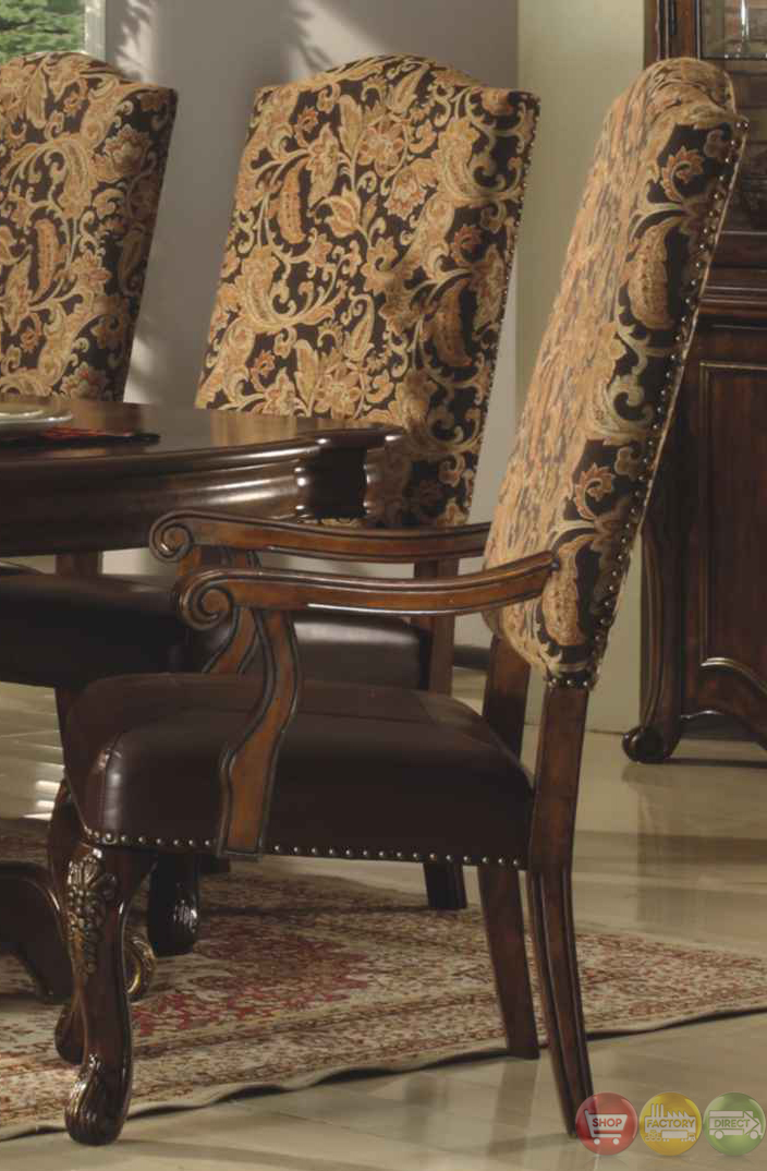 Traditional Walnut Formal Dining Set With Bonded Leather