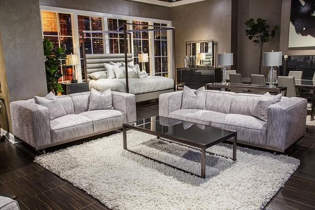 Trance Tempo Contemporary Grey Fabric Sofa Set With Exposed Metal Base