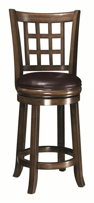 Transitional 24 Inch Leather Cushion Flared Bar Stool