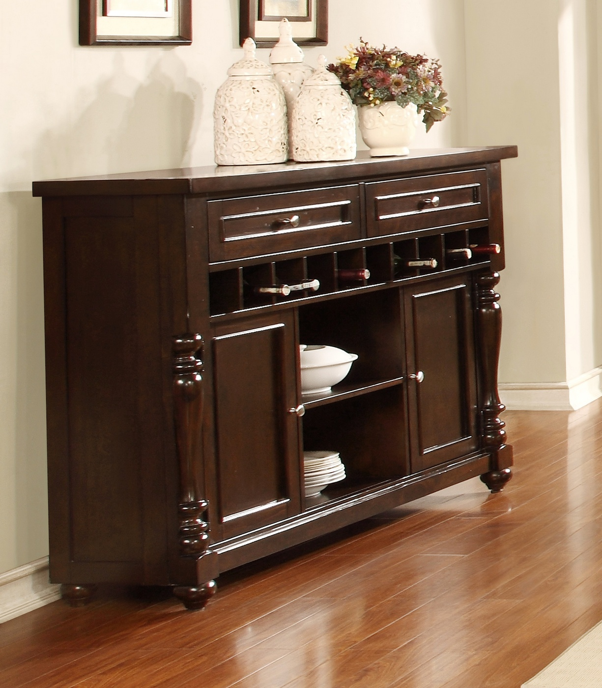 Transitional Edella Dark Brown Sideboard With Open Wine