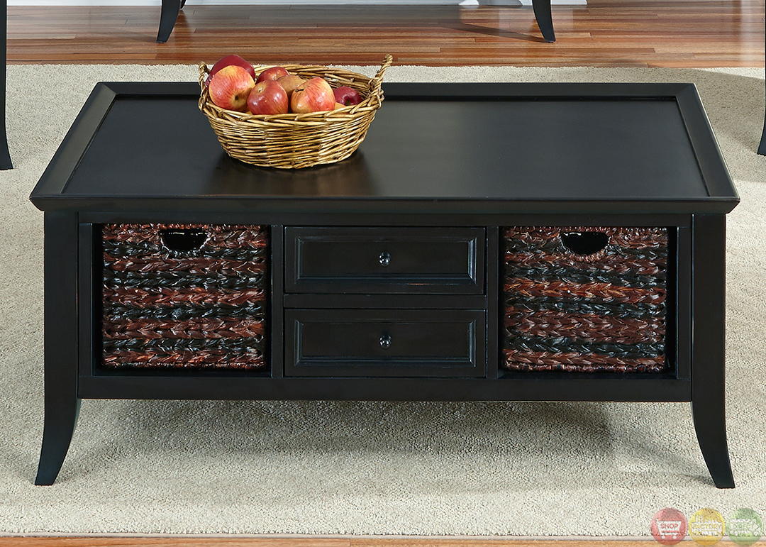 Transitional rubbed black finish occasional table set for Table 52 prices