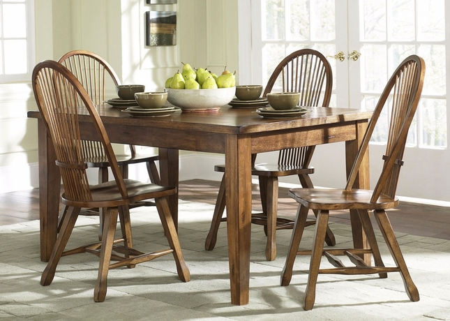 Treasures Casual Dining 5 Piece Set Windsor Chairs Rustic Oak Finish