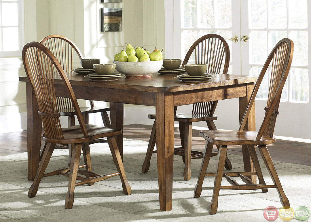 Treasures rustic oak finish casual dining furniture set for Casual dining table and chairs