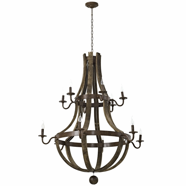 Trebuchet Rustic Medieval Inspired12-bulb Chandelier In Solid Steel, Brown