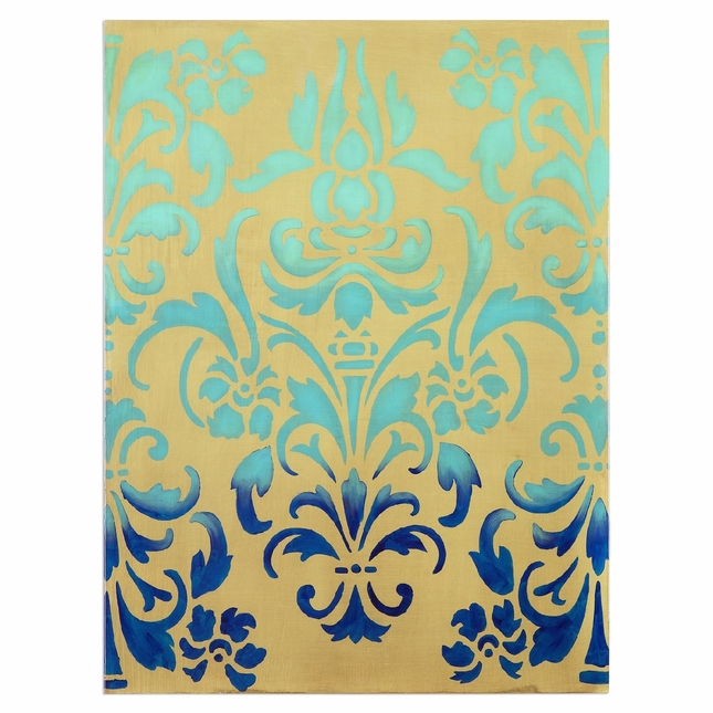 """Trendy Damask Blue Ombre Stencil Accent Wall Art In Stretched Canvas, 36""""x48"""""""