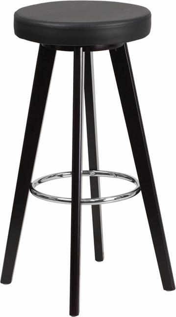 Trenton 29'' High Contemporary Black Vinyl Barstool W/ Cappuccino Wood Frame
