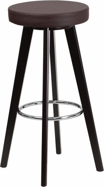 Trenton 29'' High Contemporary Brown Vinyl Barstool W/ Cappuccino Wood Frame