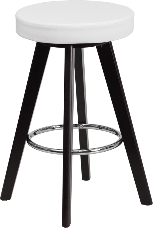 Trenton Contemporary White Vinyl Counter Height Stool W