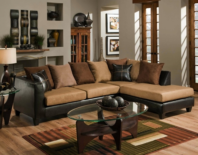 Chocolate Brown Sectional Sofa | Faux Leather Microfiber Sectional