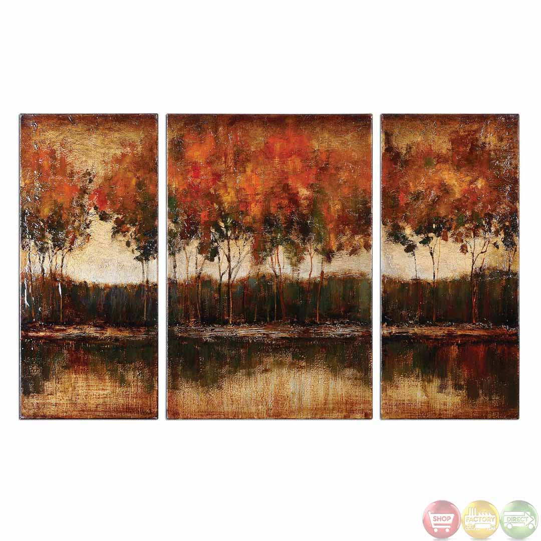 Wall Decor Set Of 3 : Trilakes set of stretched canvas art