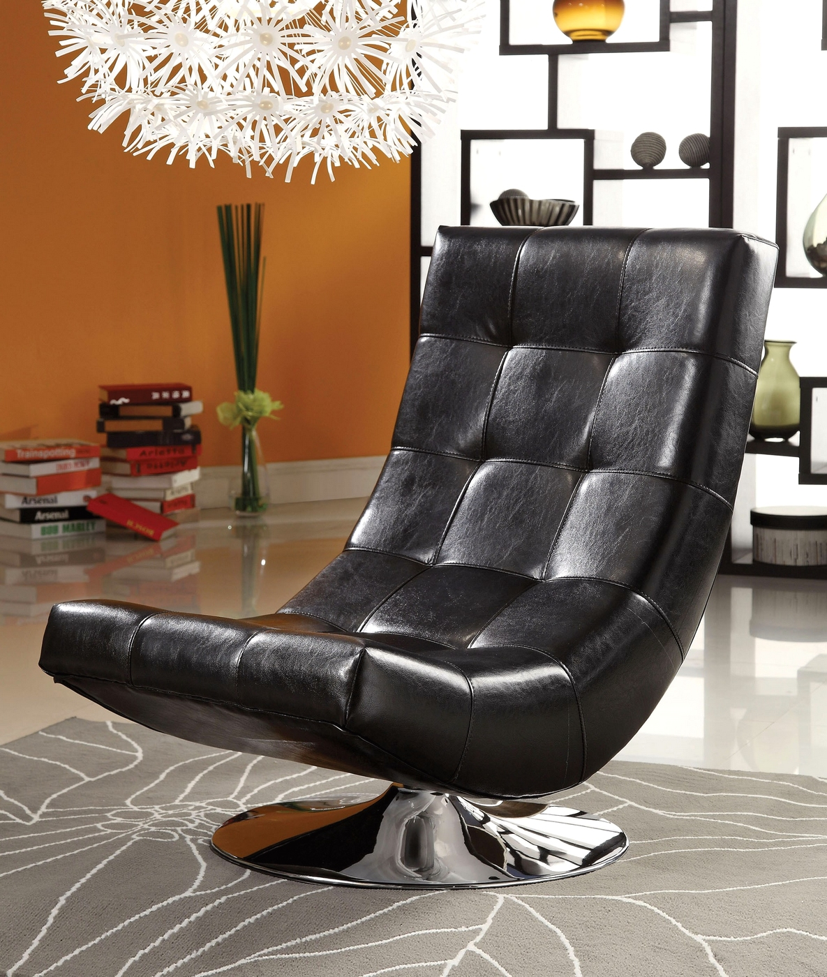 Trinidad black swivel accent chair with chrome base cm ac6912bk for Living room furniture trinidad