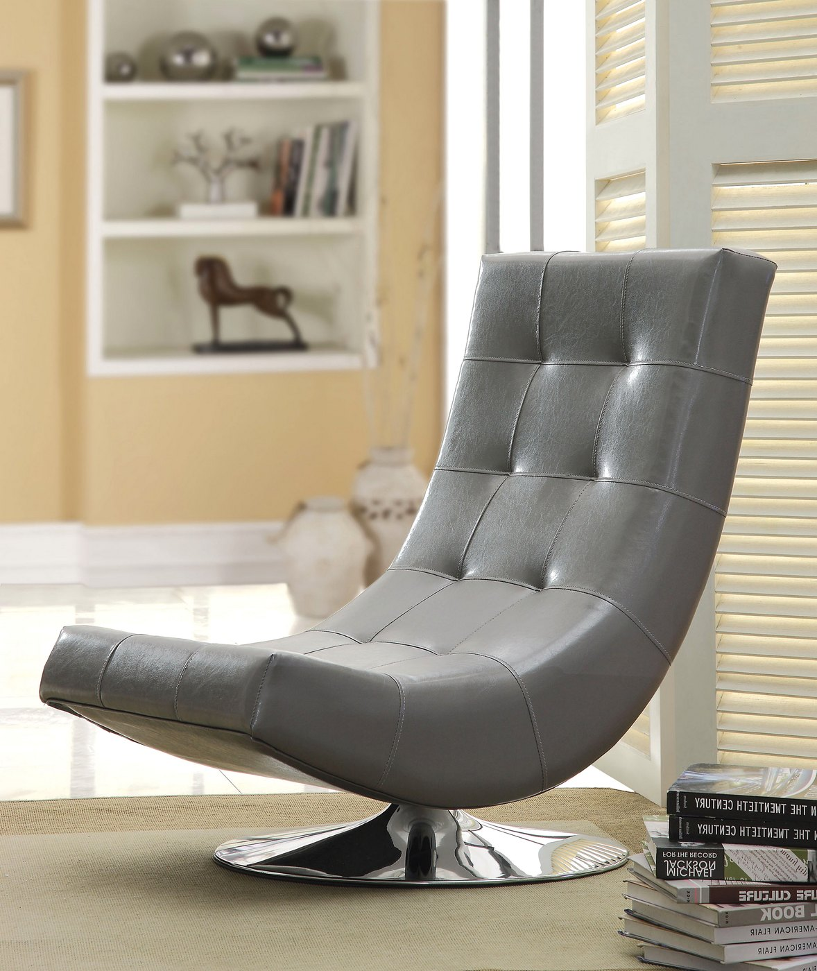 Block Base Accent Chair: Trinidad Gray Swivel Accent Chair With Chrome Base CM-AC6912GY