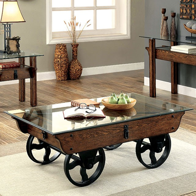 Tristin Rustic Glass Top Wooden Coffee Table With Black Metal Wheels