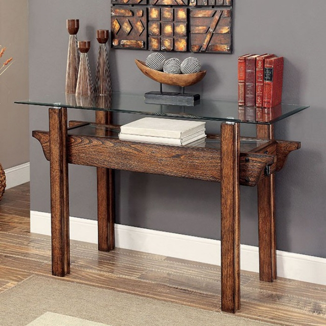 Tristin rustic glass top wooden sofa table with black