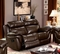 Tristin Transitional Brown Top Grain Leather Loveseat W/ Dual Recliners