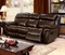 Tristin Transitional Brown Top Grain Leather Sofa W/ Dual Recliners