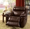 Tristin Transitional Reclining Chair In Genuine Brown Top Grain Leather