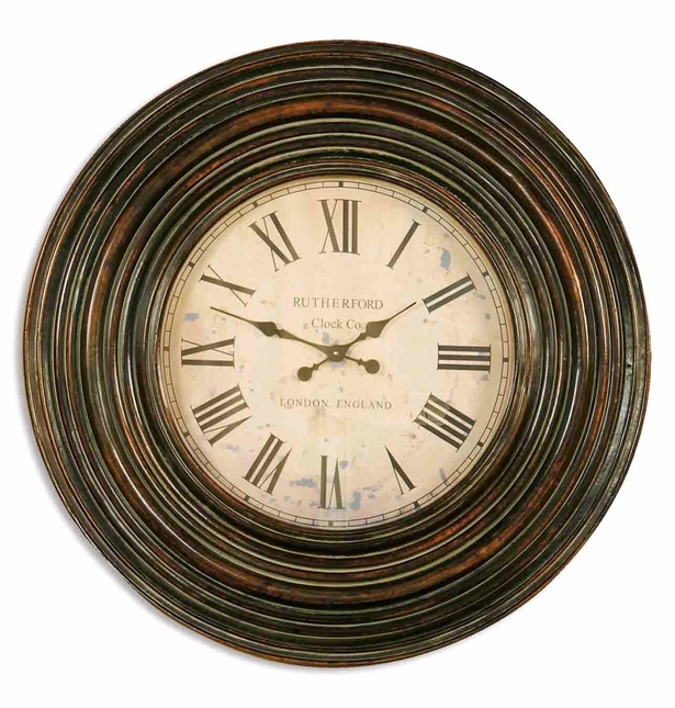 Trudy Vintage Distressed Burnished Brown Wall Clock 06726