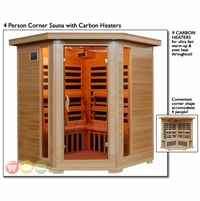 Tucson Four Person Infrared Corner Sauna SA2420DX