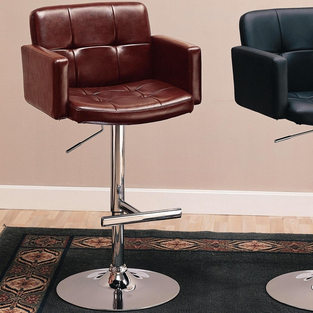 Tufted Back Faux Leather Contemporary 29 Inch Bar Stool