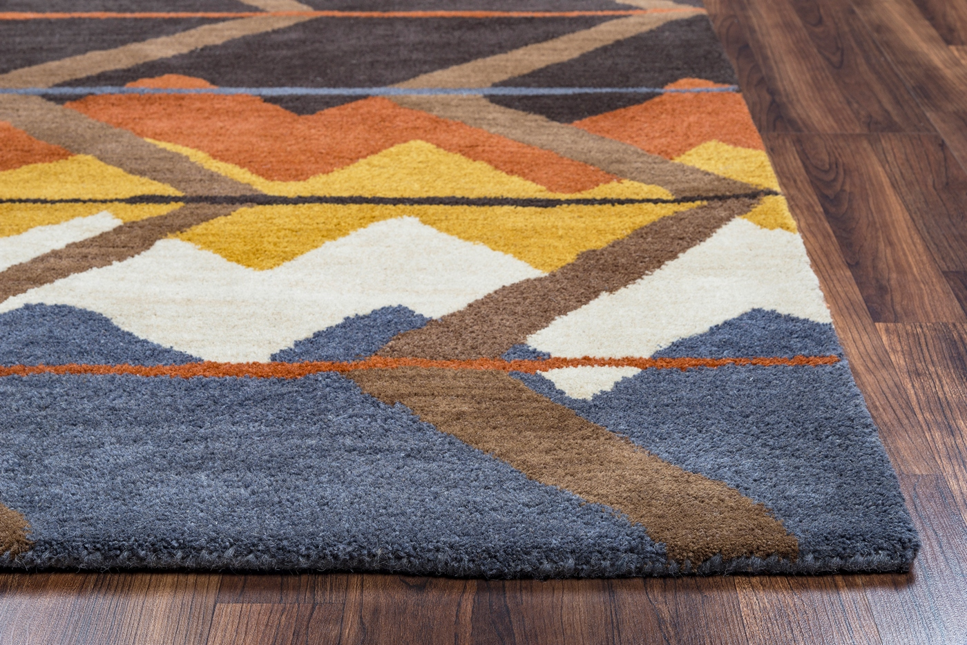 Tumble Weed Loft Indian Abstract Wool Area Rug In Blue