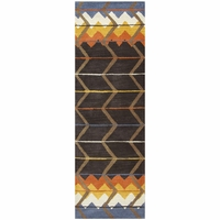 """Tumble Weed Loft Wool Runner Area Rug 2'6""""x 8' Blue White Gold Brown Southwest"""