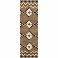 Tumble Weed Loft Wool Runner Area Rug 2'6x8' Navy Blue Taupe Tan White Southwest