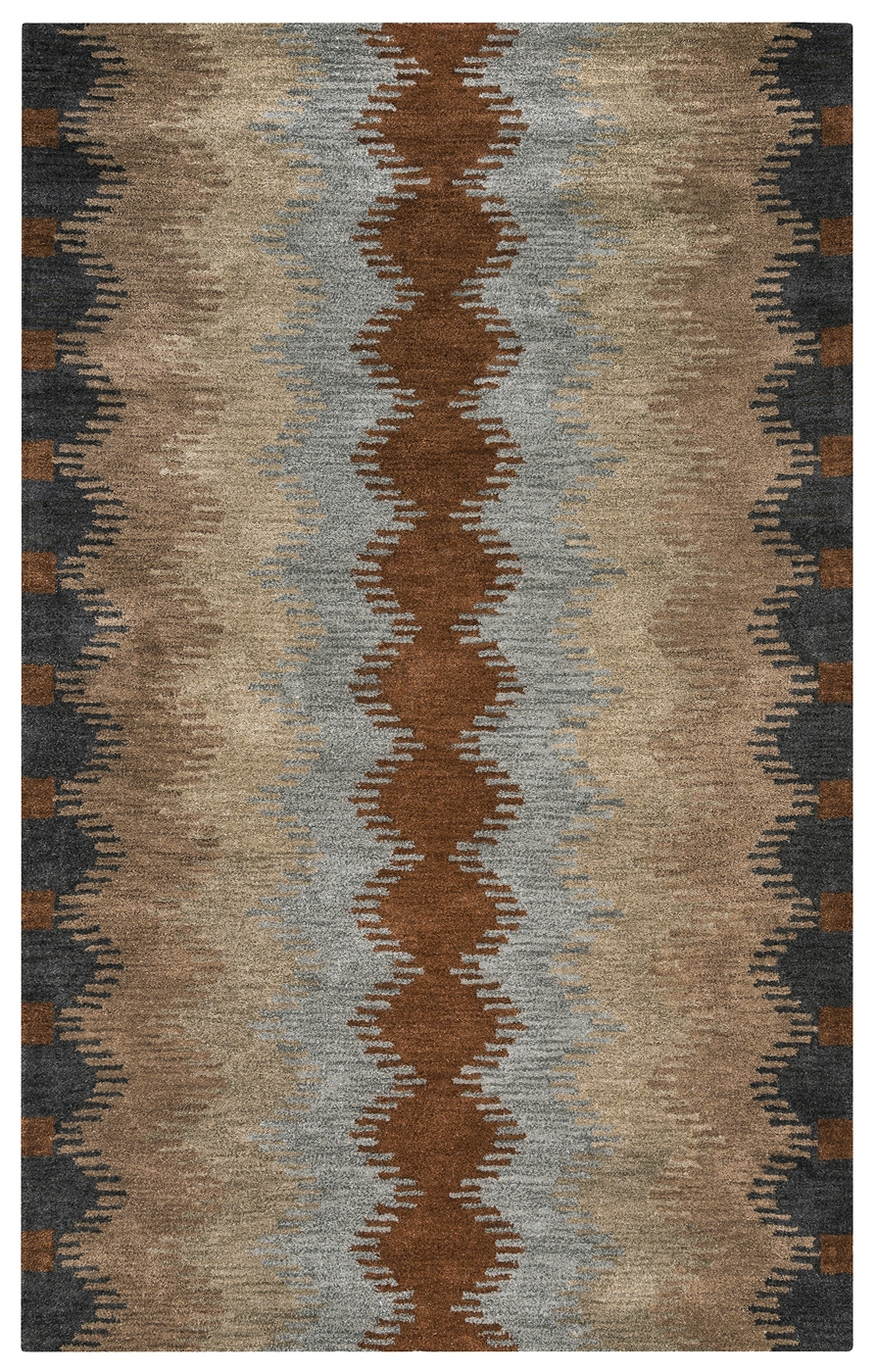 Tumble Weed Loft Tribal Ripples Wool Area Rug In Gray
