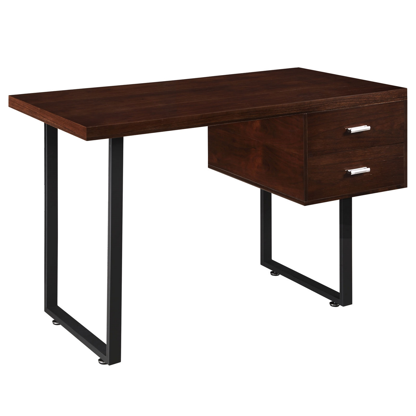 Turn contemporary 2 drawer office desk with high gloss - Walnut office desk ...